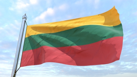 Flag of the country Lithuania weaving in the air. Flying in the sky.
