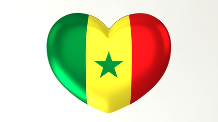 Heart-shaped button pin 3d illustration render flag I love Senegal 版權商用圖片
