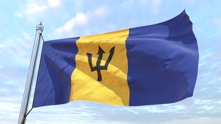 Flag of the country Barbados weaving in the air. Flying in the sky.