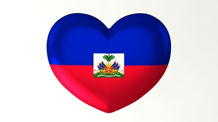 Heart-shaped button pin 3d illustration render flag I love Haiti 版權商用圖片
