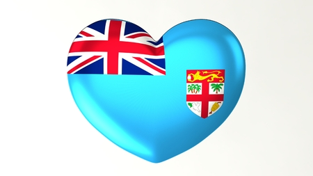 Heart-shaped button pin 3d illustration render flag I love Fiji