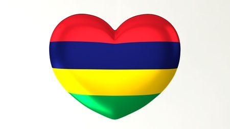 Heart-shaped button pin 3d illustration render flag I love Mauritius