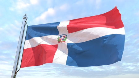Flag of the country Dominican Republic weaving in the air. Flying in the sky.