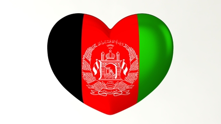 Heart-shaped button pin 3d illustration render flag I love Afghanistan Stock Photo