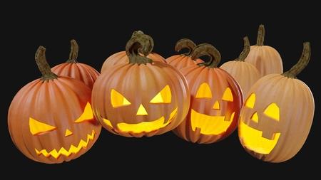 Illustration of a Halloween pumpking carved for the holydays. Jack o lantern 3D rendering. Stock Illustration - 110382599
