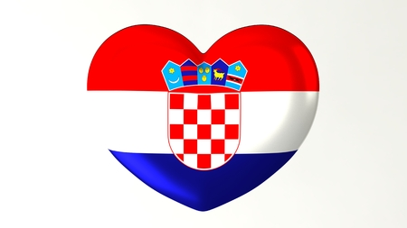 Heart-shaped button pin 3d illustration render flag I love Croatia