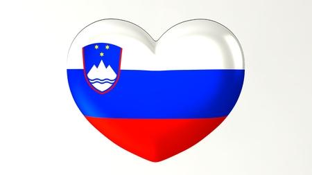 Heart-shaped button pin 3d illustration render flag I love Slovenia Imagens