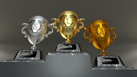 Shiny trophy after championship isolated over background. Dark and light backgrounds. Редакционное