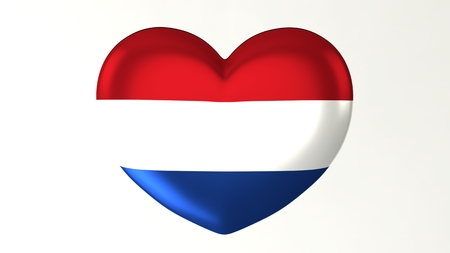 Heart-shaped button pin 3d illustration render flag I love Netherlands 版權商用圖片
