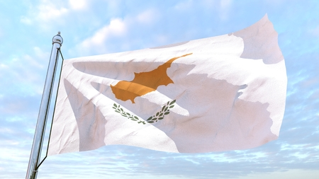 Flag of the country Cyprus weaving in the air. Flying in the sky.