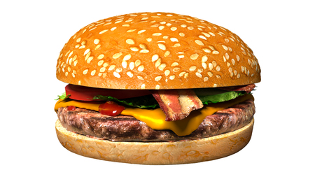 Classic bacon cheese burger isolated over plain background. Hamburger with cheese and bacon, tomato, pickles and lettuce.
