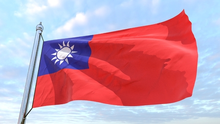 Flag of the country Taiwan weaving in the air. Flying in the sky.