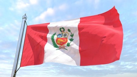 Flag of the country Peru weaving in the air. Flying in the sky. 写真素材