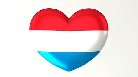 Heart-shaped button pin 3d illustration render flag I love Luxembourg