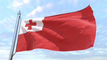 Flag of the country Tonga weaving in the air. Flying in the sky. Editorial