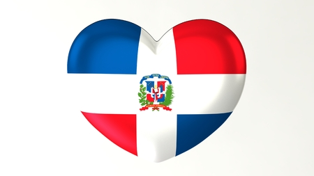 Heart-shaped button pin 3d illustration render flag I love Dominican Republic