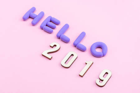 hello 2019 background concept 스톡 콘텐츠