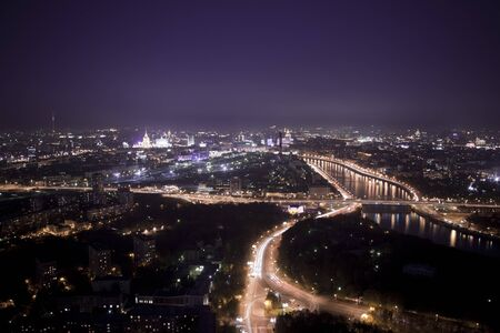 moskva river: Night panorama of Moscow center and Moskva river