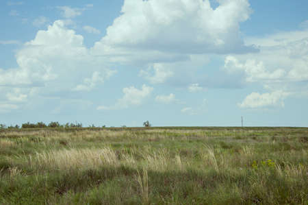 torrid: summer day cloudy sky over the steppe Stock Photo