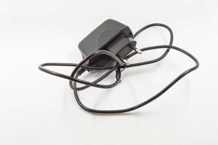 adapter: black adapter on white background Stock Photo