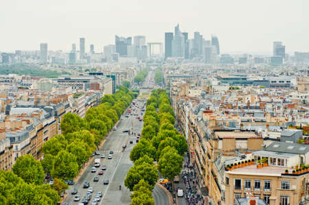 View of business district La Defense from the Arc de Triomphe