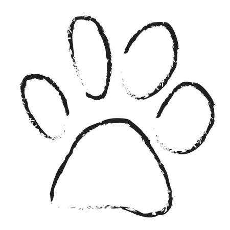 dog paw scetch vector isolated