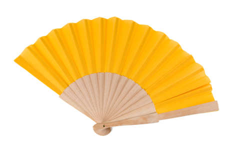 Yellow Open Hand Fan Isolated on a White Background. Studio shot.