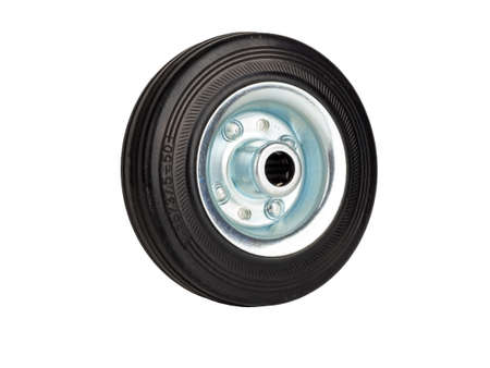 Steel industrial wheel with rubber tire and roller bearing