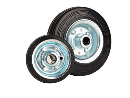Steel industrial wheels with rubber tire and roller bearings Stock Photo
