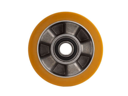 An industrial wheel made of aluminum and polyurethane