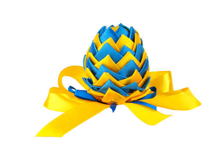Easter egg made in Ukrainian style isolated on a white background 写真素材