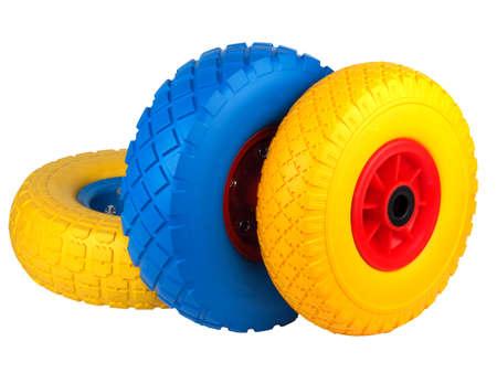 polyurethane foam wheels for trolleys on a white background