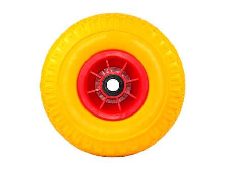 polyurethane foam wheel for trolleys on a plastic disk isolated