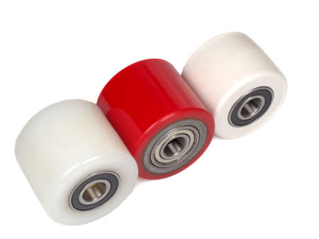 An industrial rollers for hoisting equipment made of polyamide and polyurethane isolated on a white