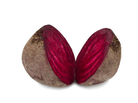 Isolated beet. Two halfs of red beetroot isolated on white background