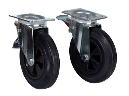 Two black rubber wheels with a polypropylene discs in brackets with a brake isolated on white
