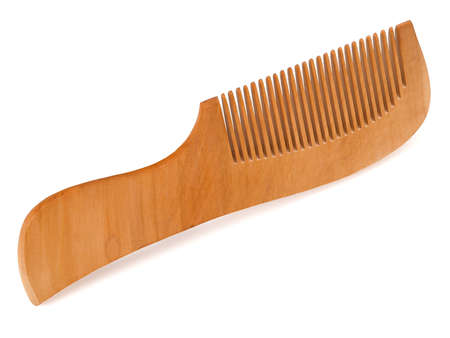 single wood comb isolated on a white background