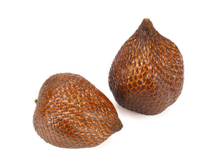 Two Snake fruit, salak, isolated on white background