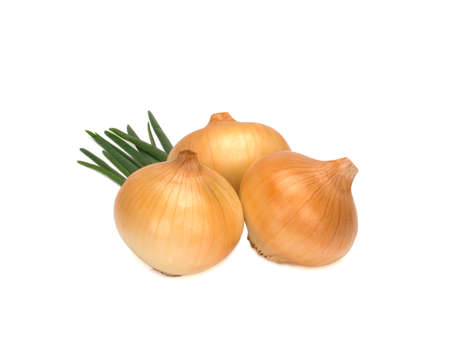 Three Onions isolated on white background. Top view