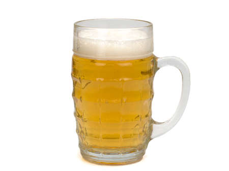 Glass of light beer isolated on white background 免版税图像