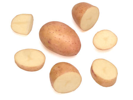 Young pink potato and its parts isolated on white background
