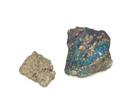 Two Natural Pyrites on a white background, close-up