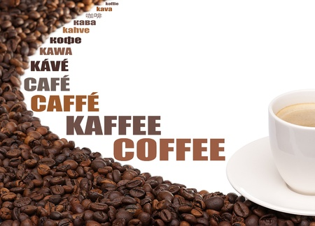 Cup of coffee beans around on a white background Stock Photo - 19250066