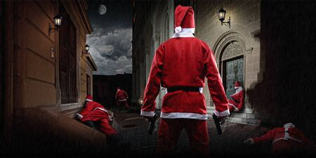 man with gun: Santa Clause showdown in the terrific dark alley Stock Photo