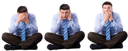 �couter: Homme d'affaires trois sages qu'ils n'ont pas entendre, parler et voir