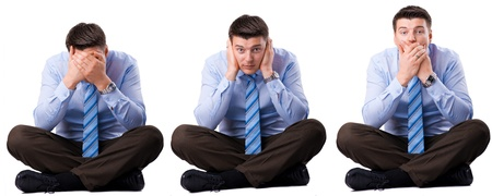Three wise businessman that they did not hear, speak and see photo