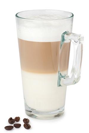 latte macchiato: Glass of latte macchiato on the white background