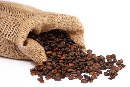 coffee sack: Sack with scattered coffee beans