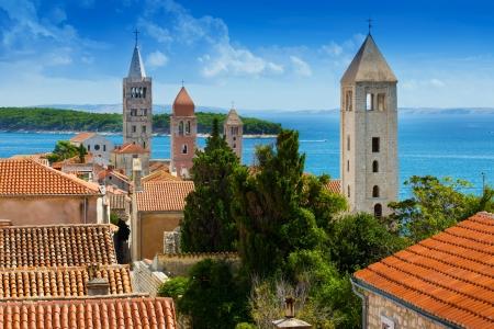 Prachtige stads gezicht van Kroatië, de stad van Rab Stockfoto