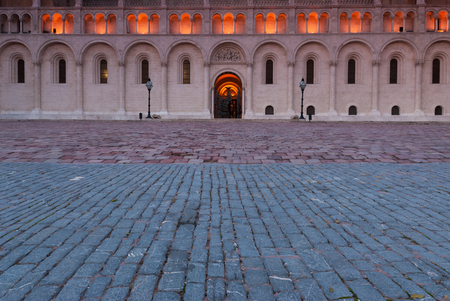 cobblestone street: Famous old church in Hungary